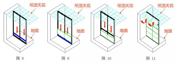 根据客户平面布局要求,在墙面与地面上划线,确定侧轨,地轨安装位置